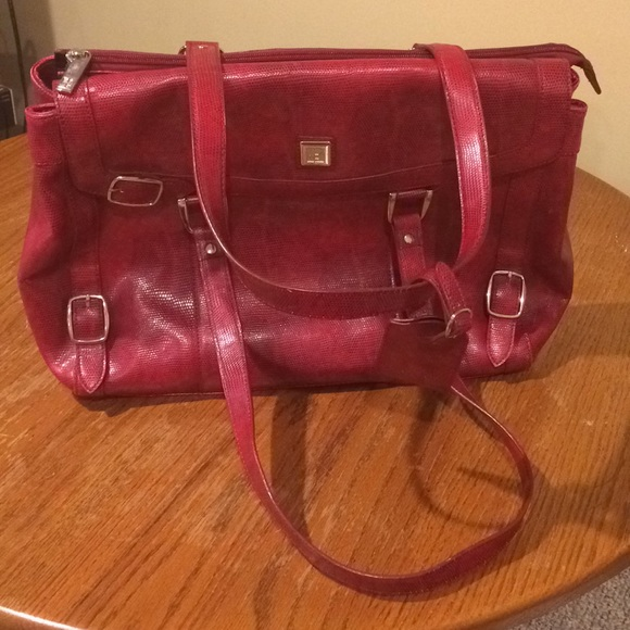 3cc01890cf DVF Red laptop tote briefcase. Snakeskin look. EUC